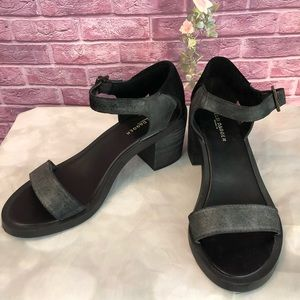 Kelsi Dagger Black Leather Suede Block Heel Shoes